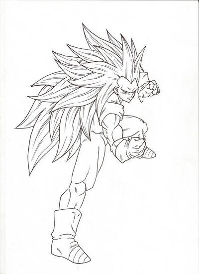 Ssj3 fighting pose sketch by 2d75