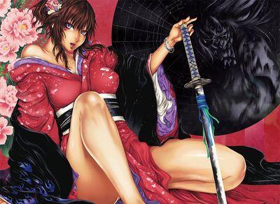 118655 art-yatagarasu-girl-sword-katana-kimono-flowers-peonies-sitting p