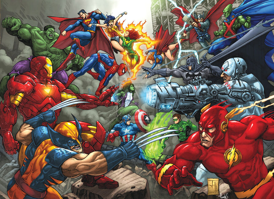 Marvel vs dc commission by bennyfuentes-d5mh97g