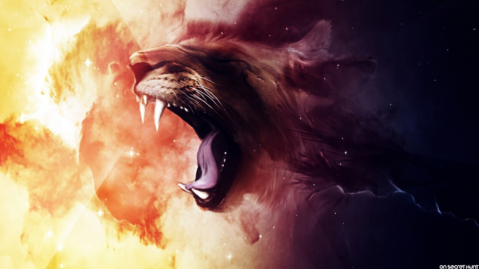 Roaring Animated Lion Wallpaper