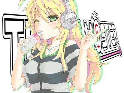 Konachan.com - 113418 blonde hair blush green eyes headphones hoshii miki idolmaster long hair wink yuu (genkai77)