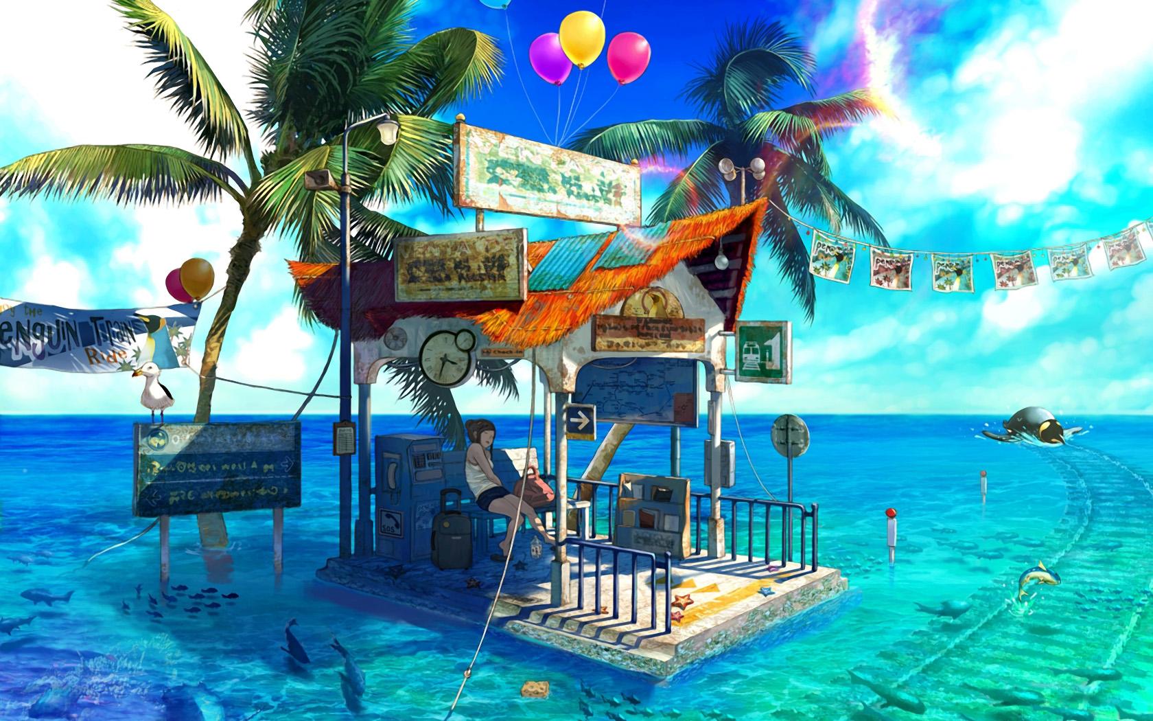 Nature Anime Tropical Island Bus Stop Ocean 677071