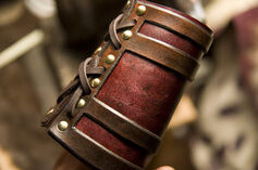 Antiquated leather bracer 2 by primitve-d5ie4nn