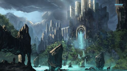 Anime-fantasy-waterfall-castle-264820