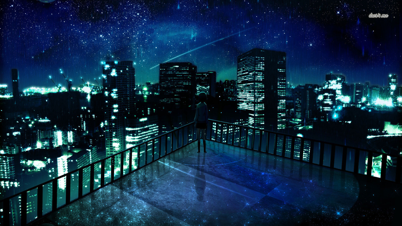 image - girl-staring-at-the-city-at-night-wallpaper-anime-wallpapers