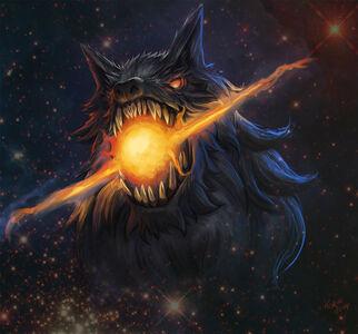 Fenrir devours the sun by 3ihard-d84d7z8