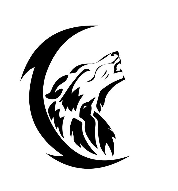 Black-crescent-moon-and-tribal-wolf-howl-tattoos