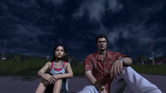 Kiryu and Haruka on the beach at night