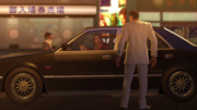 Nishiki shouts Kiryu to get inside his car for his protection from Dojima Family