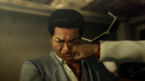 Kuze's left cheek got hit by Kiryu's anger fist