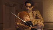 Majima ask the nervous woman to be his bitch