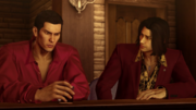 Nishiki demands to know why Kiryu chose to stick the Dojima Family once again