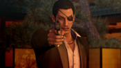Majima aim the gun at Sera if he distrusts him