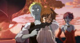 Holding Kiryu at Gunpoint