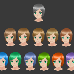 Many color variations of Nasu Kankoshi's current haircut.