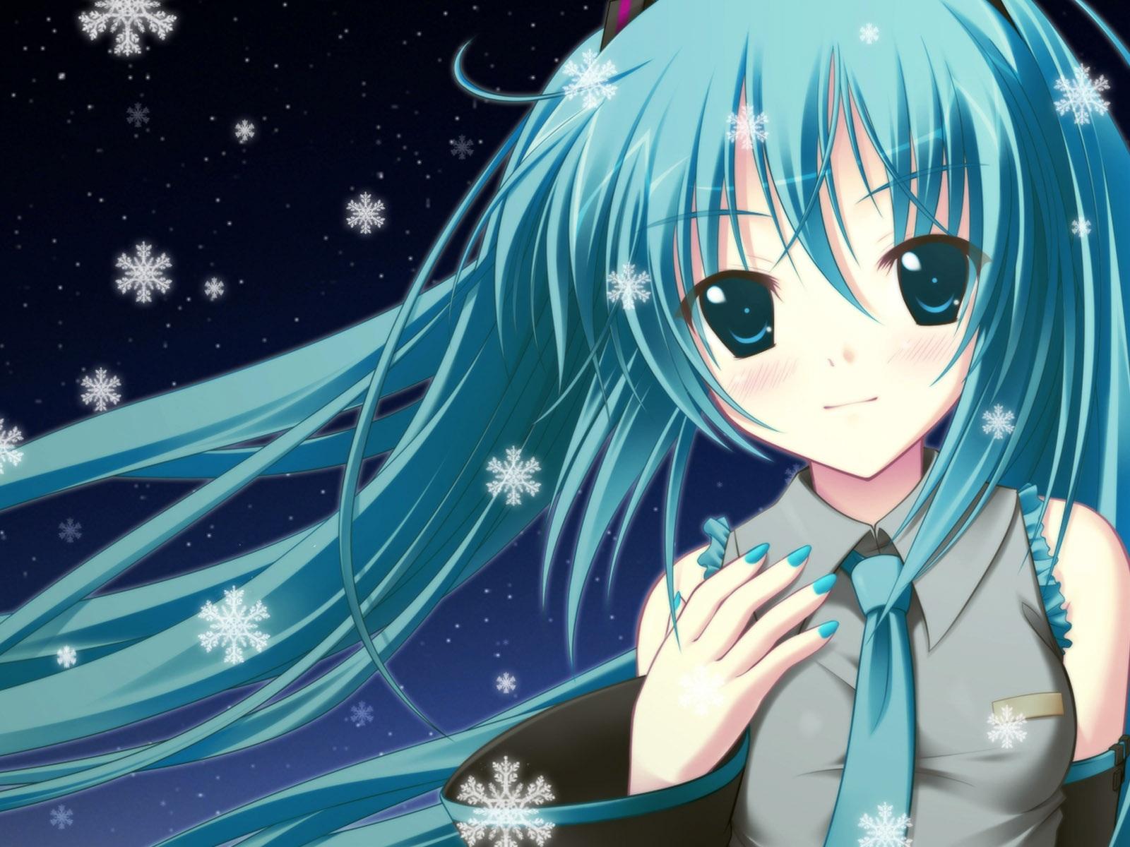 Blue hair anime girl 1600x1200 jpg
