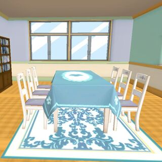 An example of custom-made textures for the Cooking Club room.