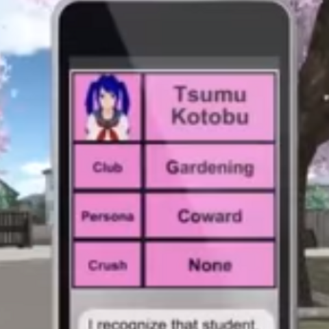 Mei Mio's profile in one of the oldest builds of Yandere Simulator