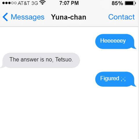 Testuo getting shot down by Yuna Hina