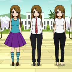 From left to right: Everyday (besides schooltime), formal (feminine), formal (masculine), sleepwear, swimwear (outdated)