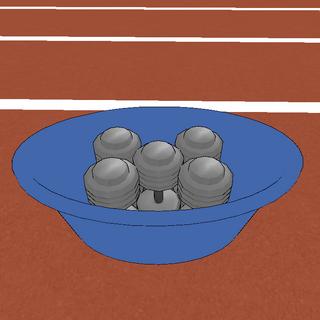 Las pesas dentro del cubo