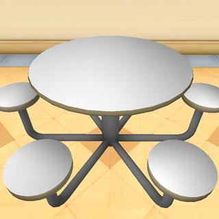 Mesas en la cafetería.