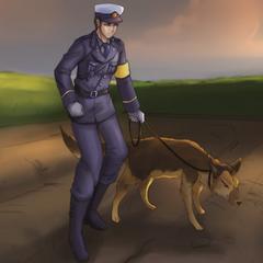 一名帶警犬的警察,來自影片
