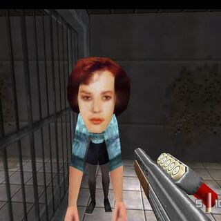 A character from <i>GoldenEye 007</i> in DK Mode.