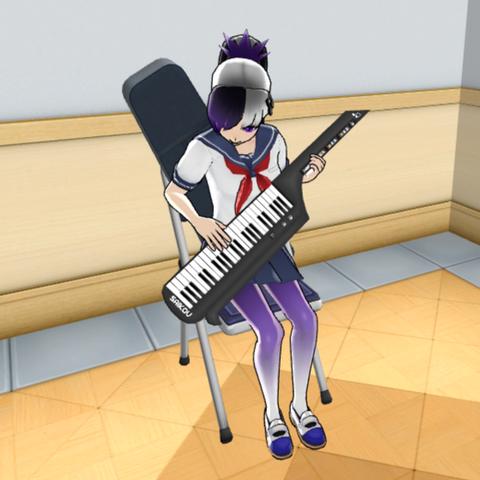 Kiba practicing the keytar.