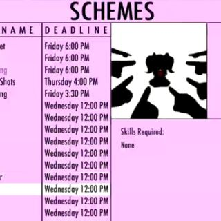 Gossip on the Schemes menu. May 1st, 2016.