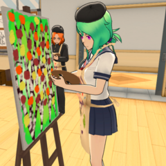 Maka painting in the Art Club.