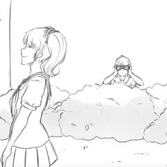 Senpai berbicara dengan Rival-chan saat dikuntit oleh Yandere-chan dalam <a rel=
