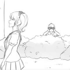 Senpai talking to Rival-chan while being stalked by Yandere-chan in .