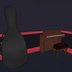 Estuche de violonchelo y el piano.