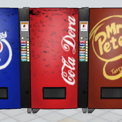Three vending machines located in the <a class=