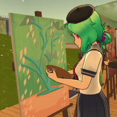 Maka painting an abstract piece of art behind the <a href=