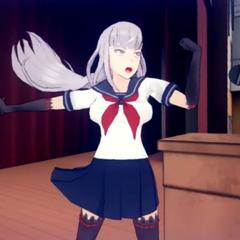 Megami yelling in