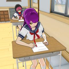 Sakyu doing her schoolwork in-game.