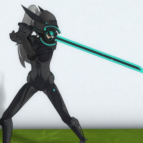 Ayano cyborg sosteniendo la espada de energía.
