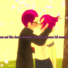 Riku and Kokona kissing.