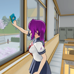 Sakyu participating in cleaning time in-game.