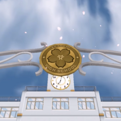 School logo on Akademi High's front gate. May 10th, 2018.
