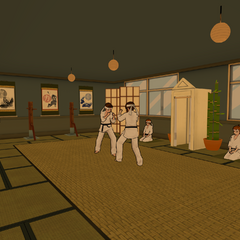 Students in the Martial Arts Club room.