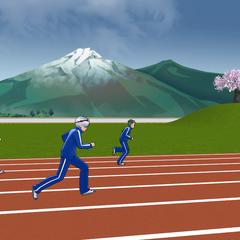 體育社在跑道上跑步