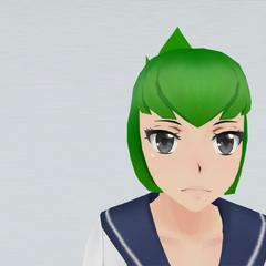 Short green hair, spiky at the back.