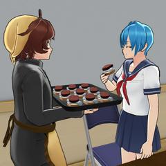 Shoku giving food to a student.
