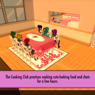 Participating in the Cooking Club activity if the other members are present.