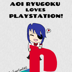 A cute little drawing that shows both my love for Sony and my favorite Yandere Simulator and video game character, Aoi Ryugoku! The PlayStation logo has absolutely ZERO tracing in it and it took a while to finish it, and little Aoi is a quick sketch! She's so cute!