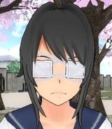 Yandere-chan z dwoma opaskami na oczach