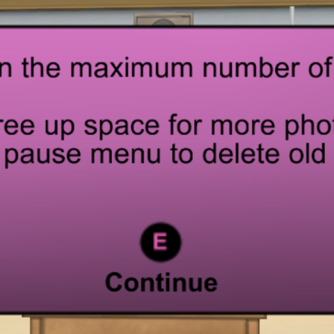 The message when the gallery is full.